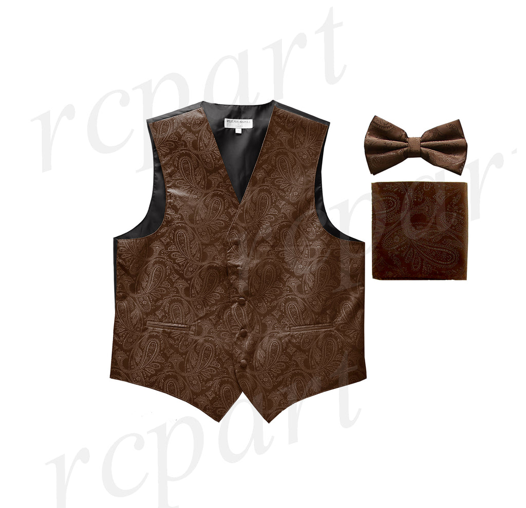 Men's paisley Tuxedo VEST Waistcoat_bowtie & hankie set formal wedding brown