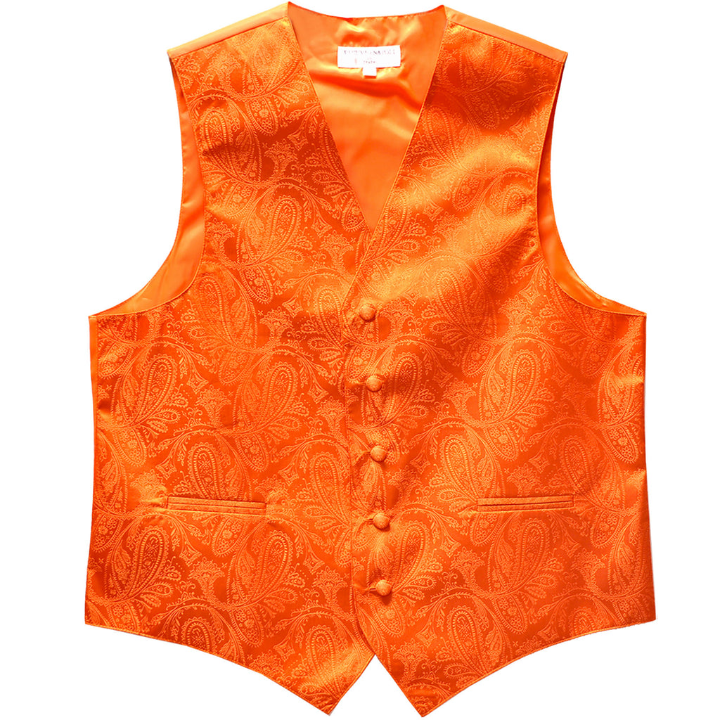 New formal men's tuxedo vest waistcoat only paisley pattern prom wedding orange