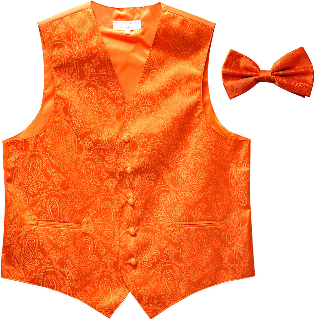 New Men's Formal Vest Tuxedo Waistcoat_bowtie paisley pattern wedding orange