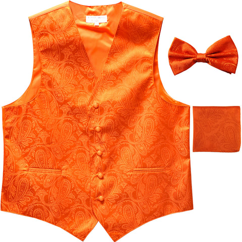 Men's paisley Tuxedo VEST Waistcoat_bowtie & hankie set formal wedding orange