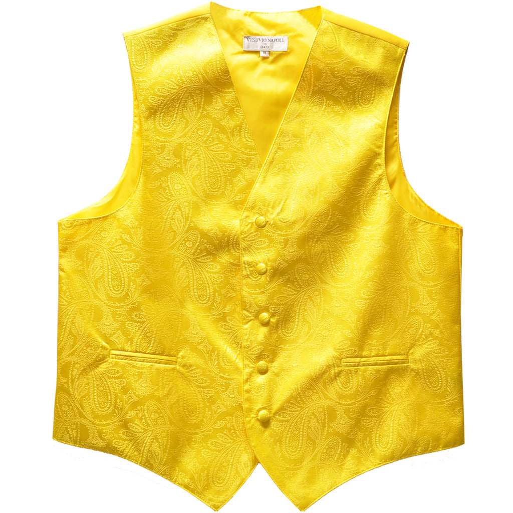 New formal men's tuxedo vest waistcoat only paisley pattern prom wedding yellow