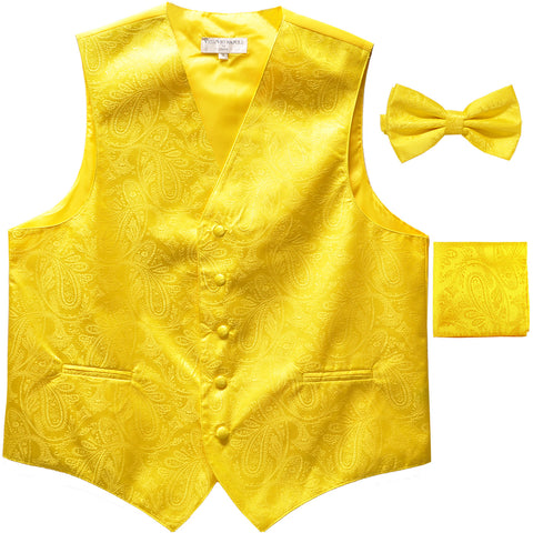 Men's paisley Tuxedo VEST Waistcoat_bowtie & hankie set formal wedding yellow