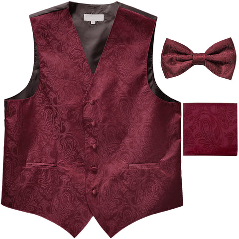 Men's paisley Tuxedo VEST Waistcoat_bowtie & hankie set formal wedding burgundy