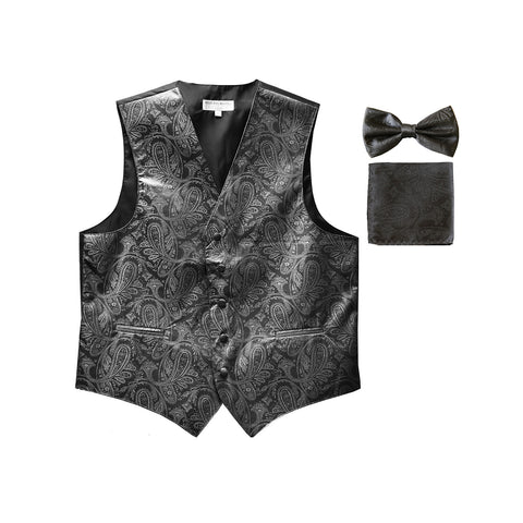 Men's paisley Tuxedo VEST Waistcoat_bowtie & hankie set formal wedding dark gray
