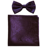 New formal men's pre tied Bow tie & hankie set paisley pattern wedding