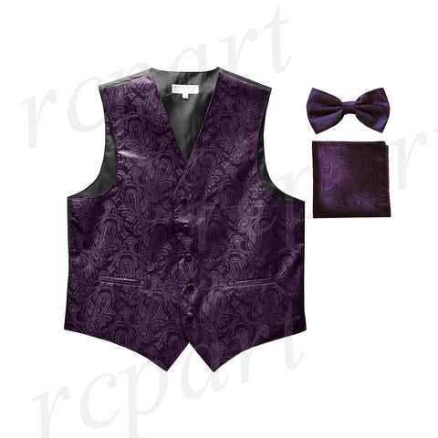 Men's paisley Tuxedo VEST Waistcoat_bowtie & hankie set formal wedding dark purple
