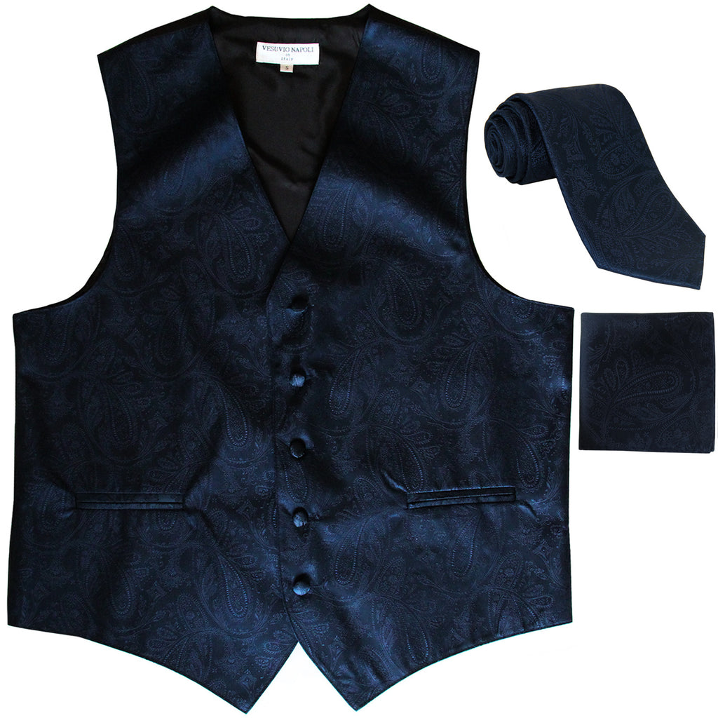 New Men's Formal Vest Tuxedo Waistcoat_necktie set paisley pattern prom navy