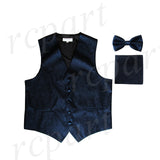 Men's paisley Tuxedo VEST Waistcoat_bowtie & hankie set formal wedding navy blue