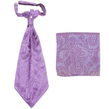 New men's polyester ASCOT cravat neck tie & hankie set Paisley prom