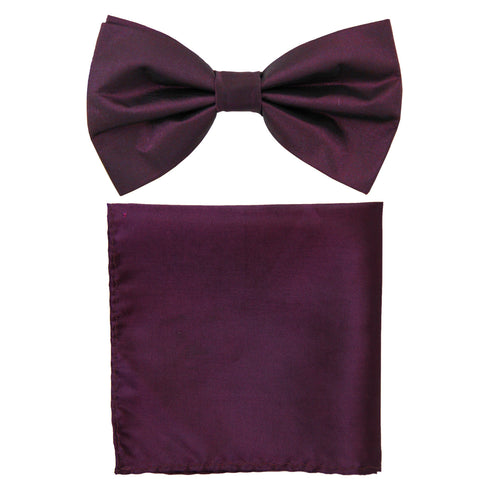 New formal men's pre tied Bow tie & Pocket Square Hankie chinz solid