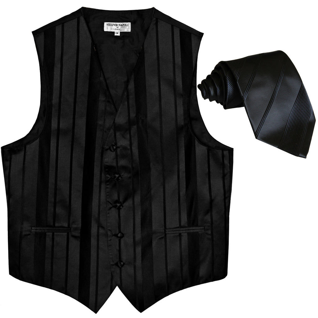 New formal men's tuxedo vest waistcoat & necktie vertical stripes wedding black