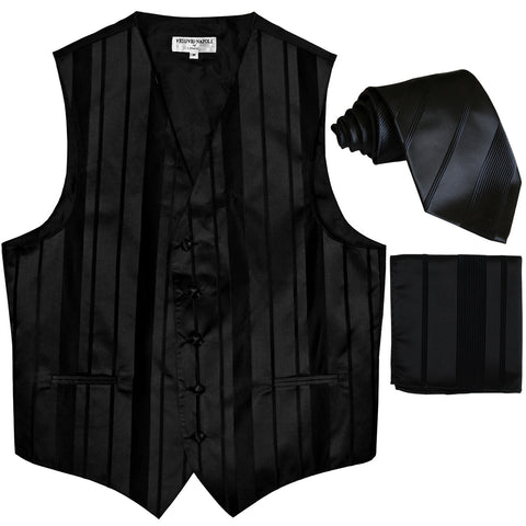 New Men's vertical stripes Tuxedo Vest Waistcoat_tie & hankie black
