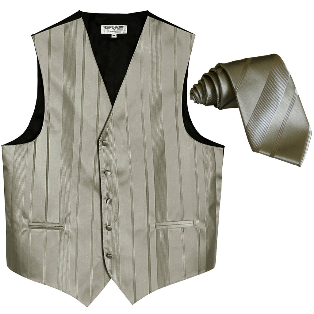 New formal men's tuxedo vest waistcoat & necktie vertical stripes wedding silver