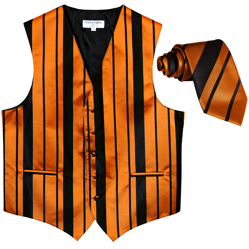 New formal men's tuxedo vest waistcoat & necktie vertical stripes wedding black gold