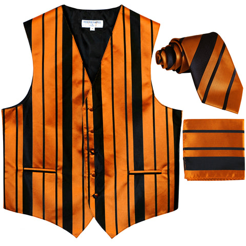 New Men's vertical stripes Tuxedo Vest Waistcoat_tie & hankie black gold