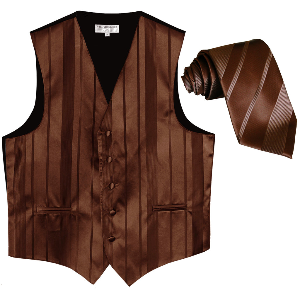 New formal men's tuxedo vest waistcoat & necktie vertical stripes wedding brown