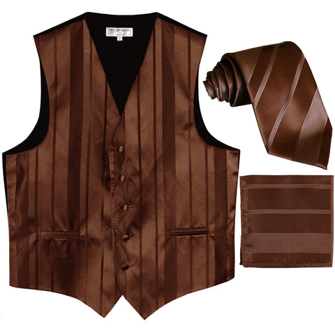 New Men's vertical stripes Tuxedo Vest Waistcoat_tie & hankie brown