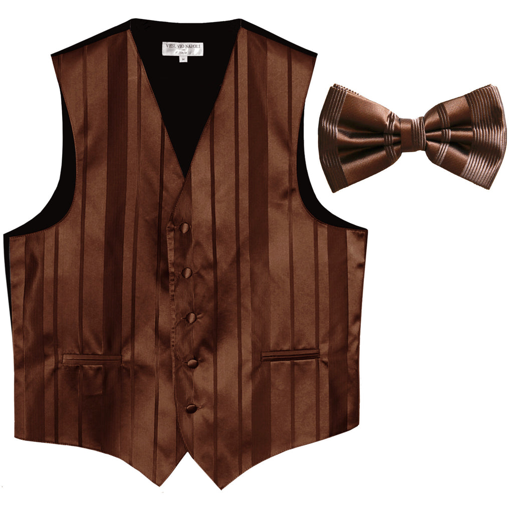 New formal men's tuxedo vest waistcoat & bowtie vertical stripes prom brown