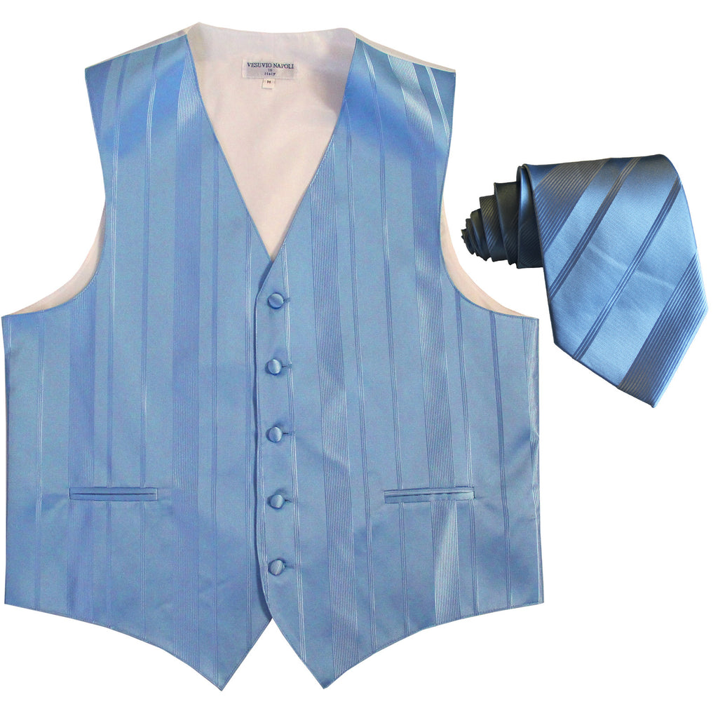 New formal men's tuxedo vest waistcoat & necktie vertical stripes wedding light blue