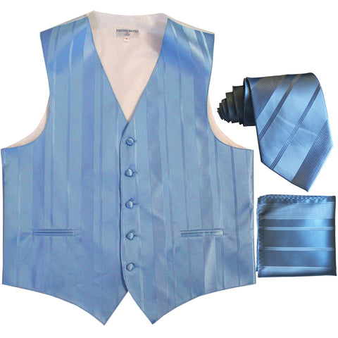 New Men's vertical stripes Tuxedo Vest Waistcoat_tie & hankie light blue