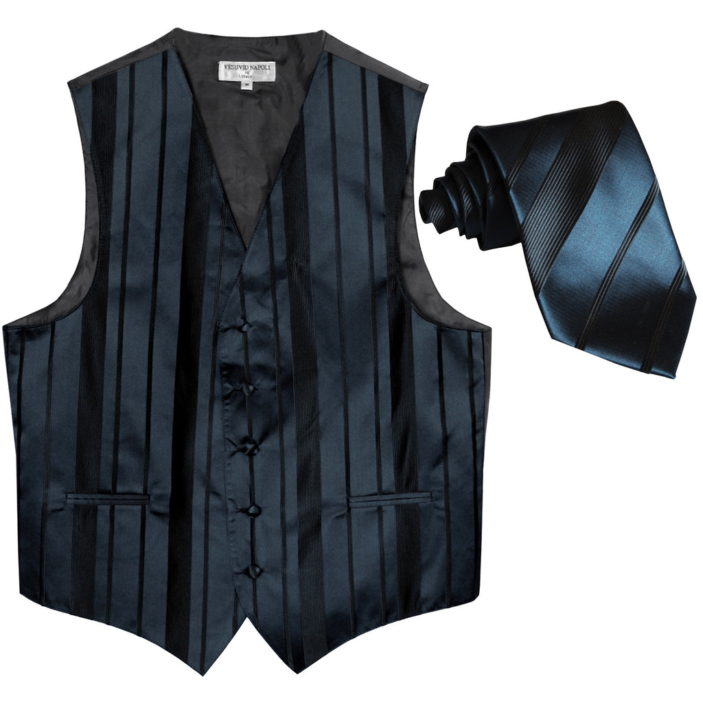 New formal men's tuxedo vest waistcoat & necktie vertical stripes wedding navy blue
