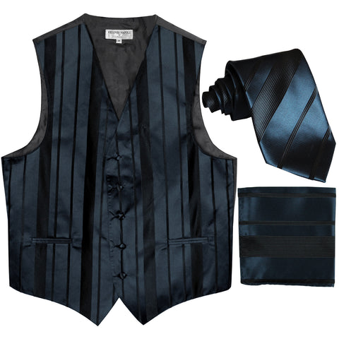 New Men's vertical stripes Tuxedo Vest Waistcoat_tie & hankie navy blue