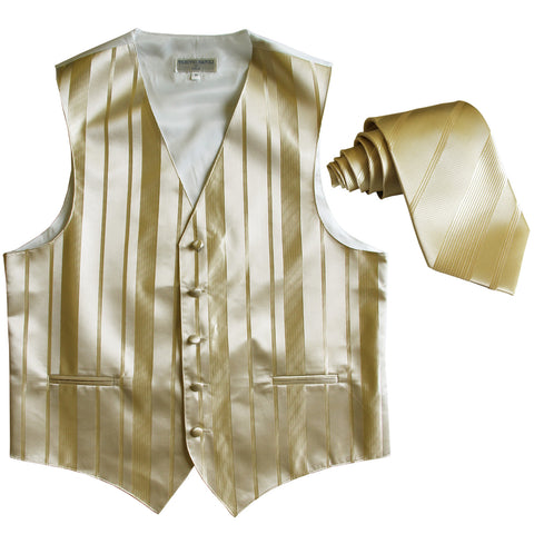 New formal men's tuxedo vest waistcoat & necktie vertical stripes wedding beige