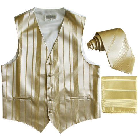 New Men's vertical stripes Tuxedo Vest Waistcoat_tie & hankie beige