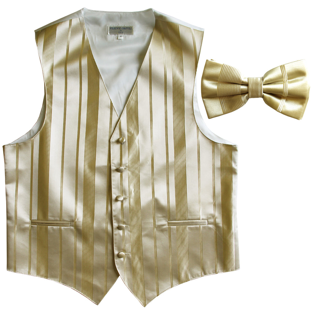 New formal men's tuxedo vest waistcoat & bowtie vertical stripes prom beige