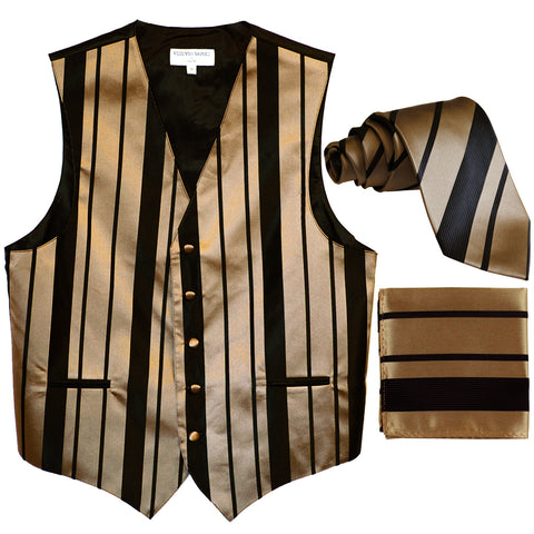 New Men's vertical stripes Tuxedo Vest Waistcoat_tie & hankie black mocca