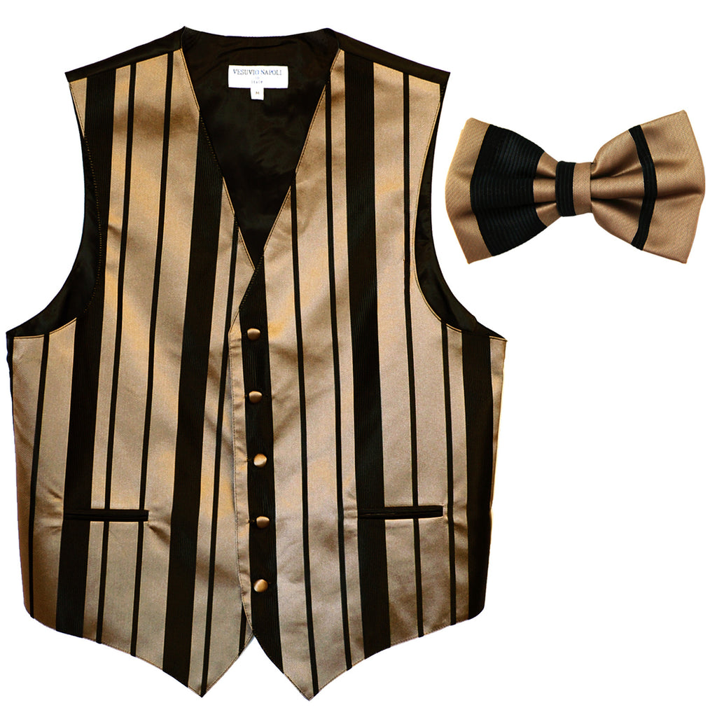 New formal men's tuxedo vest waistcoat & bowtie vertical stripes prom black mocca