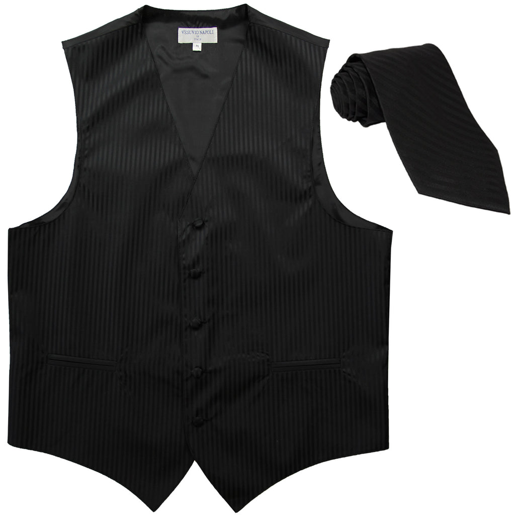 New Men's formal Vertical stripes tuxedo Vest Waistcoat_necktie prom black
