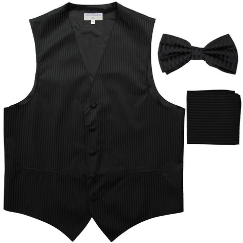 New Men's Formal Vest Tuxedo Waistcoat_bowtie & hankie set stripes black