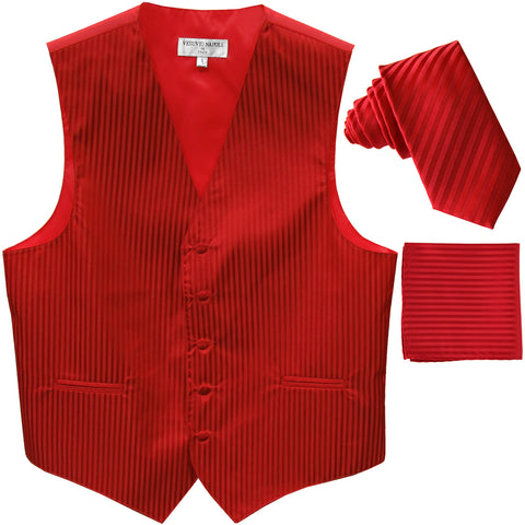 "New Men's Formal Vest Tuxedo Waistcoat_2.5"" vertical stripes slim necktie set wedding red"