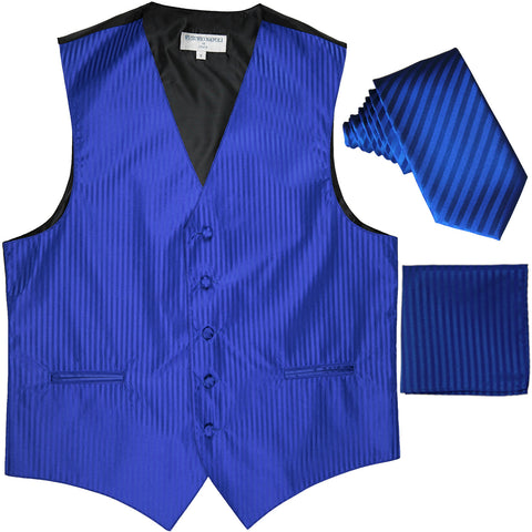 "New Men's Formal Vest Tuxedo Waistcoat_2.5"" vertical stripes slim necktie set wedding royal blue"