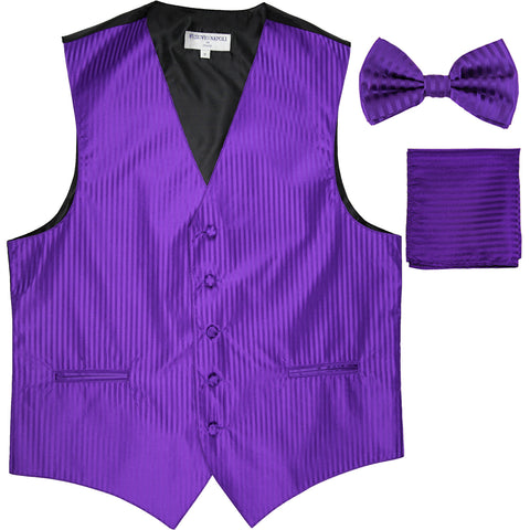 New Men's Formal Vest Tuxedo Waistcoat_bowtie & hankie set stripes purple