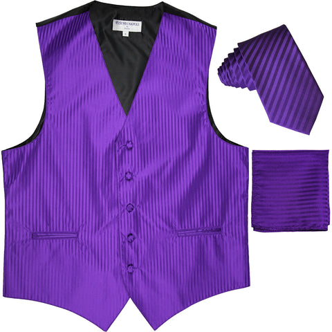 "New Men's Formal Vest Tuxedo Waistcoat_2.5"" vertical stripes slim necktie set wedding purple"