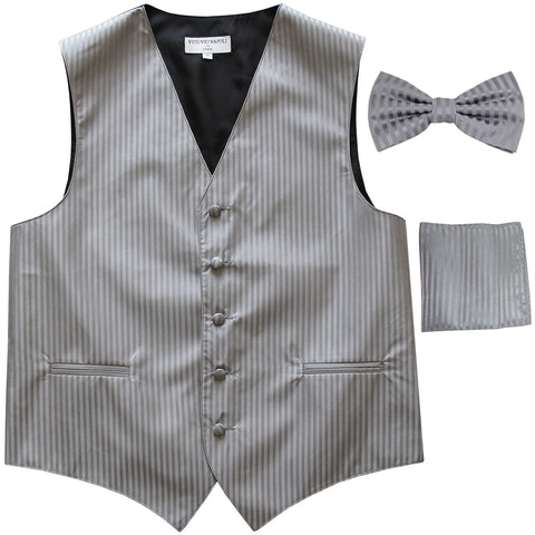 New Men's Formal Vest Tuxedo Waistcoat_bowtie & hankie set stripes gray