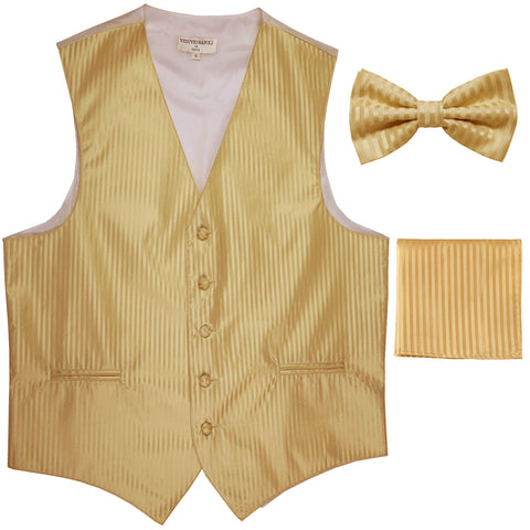 New Men's Formal Vest Tuxedo Waistcoat_bowtie & hankie set stripes gold