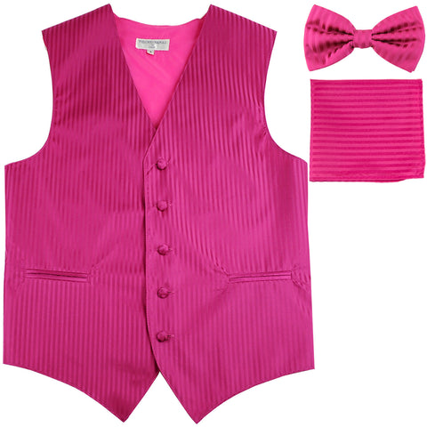 New Men's Formal Vest Tuxedo Waistcoat_bowtie & hankie set stripes hot pink
