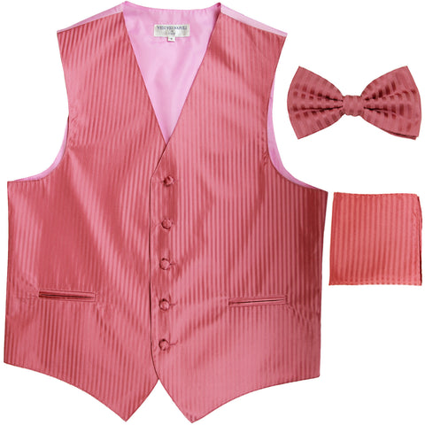 New Men's Formal Vest Tuxedo Waistcoat_bowtie & hankie set stripes coral