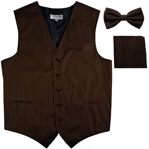 New Men's Formal Vest Tuxedo Waistcoat_bowtie & hankie set stripes brown