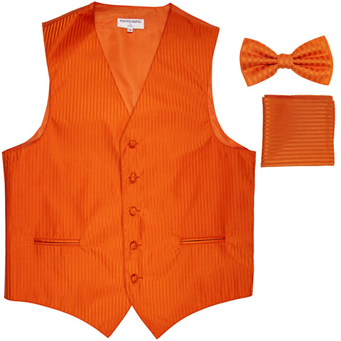 New Men's Formal Vest Tuxedo Waistcoat_bowtie & hankie set stripes orange