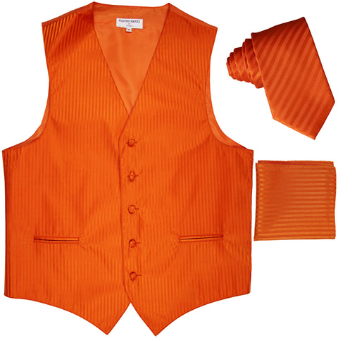 "New Men's Formal Vest Tuxedo Waistcoat_2.5"" vertical stripes slim necktie set wedding orange"