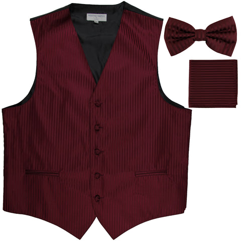 New Men's Formal Vest Tuxedo Waistcoat_bowtie & hankie set stripes burgundy