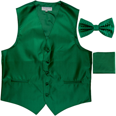 New Men's Formal Vest Tuxedo Waistcoat_bowtie & hankie set stripes emerald green