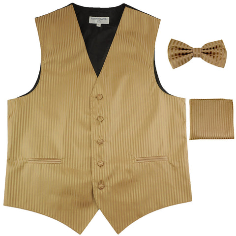 New Men's Formal Vest Tuxedo Waistcoat_bowtie & hankie set stripes mocca