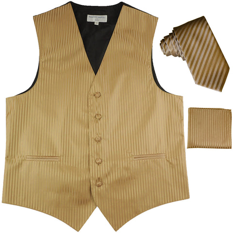 "New Men's Formal Vest Tuxedo Waistcoat_2.5"" vertical stripes slim necktie set wedding mocca"