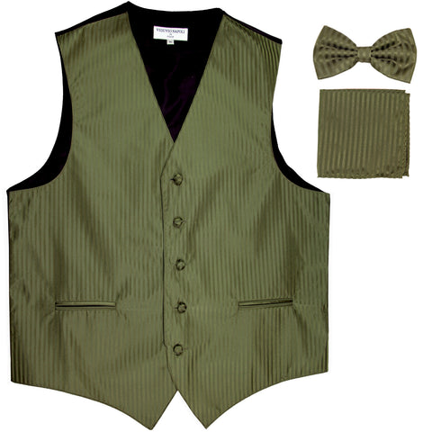 New Men's Formal Vest Tuxedo Waistcoat_bowtie & hankie set stripes olive green