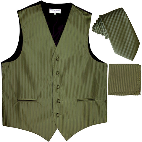 "New Men's Formal Vest Tuxedo Waistcoat_2.5"" vertical stripes slim necktie set wedding olive green"